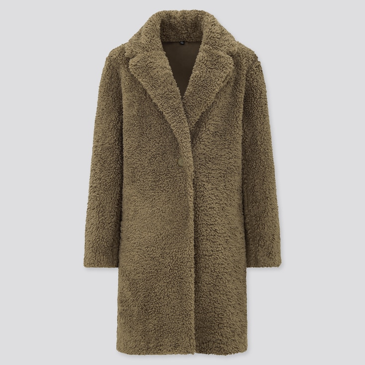 Women Pile-Lined Fleece Tailored Coat, Olive, Large