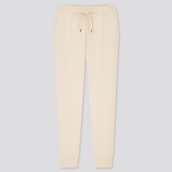 Women Pile-Lined Sweatpants, Off White, Large