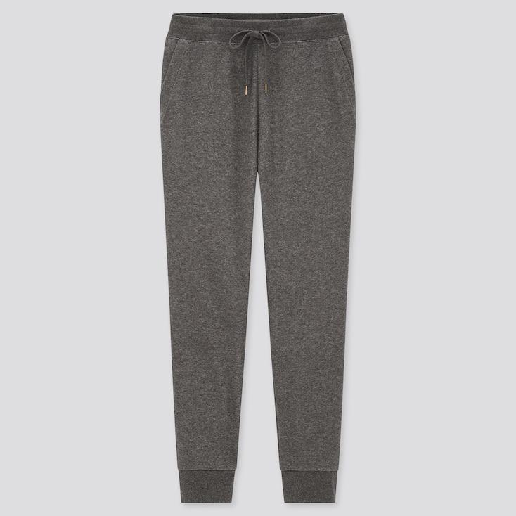 Women Pile-Lined Sweatpants, Dark Gray, Large