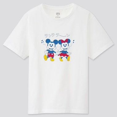 Women Mickey Manga Art Ut Fujio Productions (Short-Sleeve Graphic T-Shirt), White, Medium