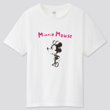 Women Mickey Manga Art Ut Kotobuki Shiriagari (Short-Sleeve Graphic T-Shirt), White, Medium