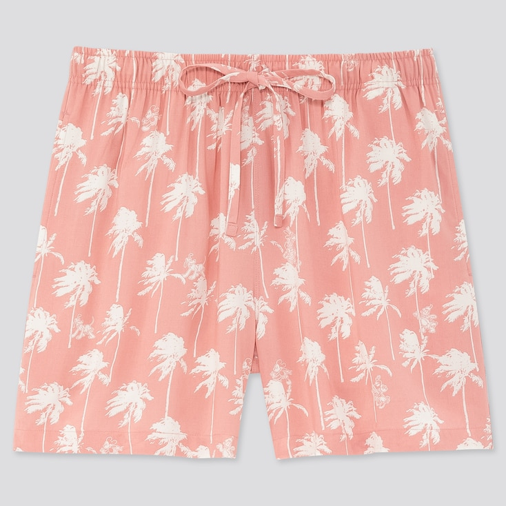 Women Mickey Aloha Relaco Shorts, Pink, Large