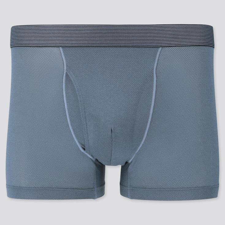 Men Airism Mesh Striped Boxer Briefs, Blue, Large