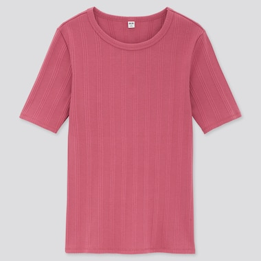 Women Random Ribbed Crew Neck Short-Sleeve T-Shirt, Pink, Medium