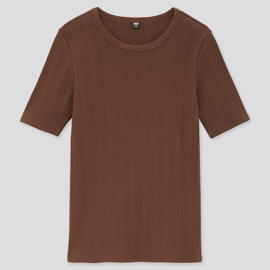 Women Random Ribbed Crew Neck Short-Sleeve T-Shirt, Dark Brown, Medium