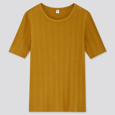 Women Random Ribbed Crew Neck Short-Sleeve T-Shirt, Mustard, Medium