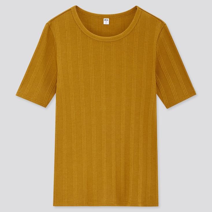 Women Random Ribbed Crew Neck Short-Sleeve T-Shirt, Mustard, Large