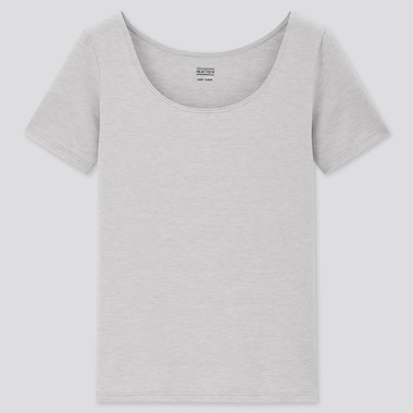 Women Heattech Scoop Neck T-Shirt, Gray, Medium