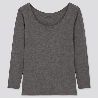 Women Heattech Scoop Neck Long-Sleeve T-Shirt, Dark Gray, Medium