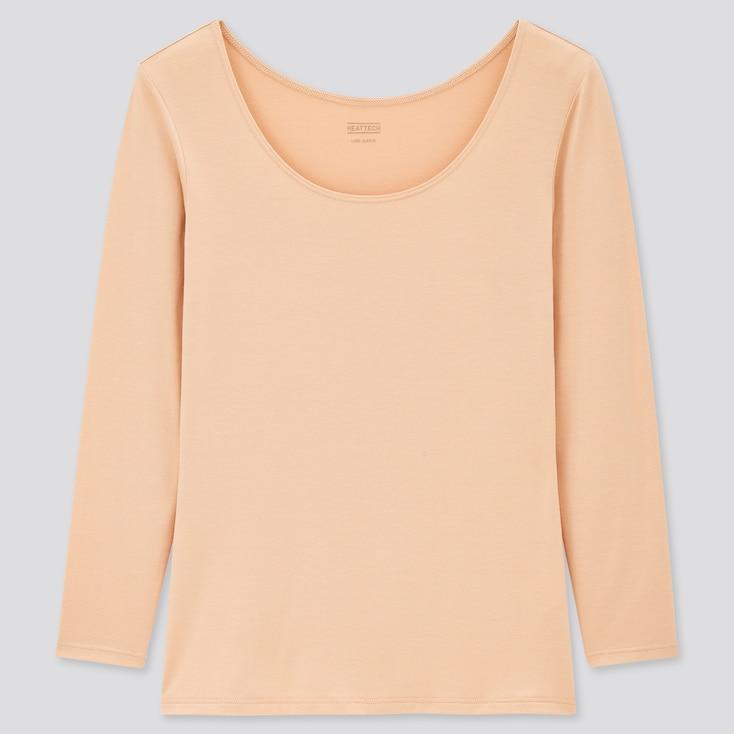 Women Heattech Scoop Neck Long-Sleeve T-Shirt, Beige, Large