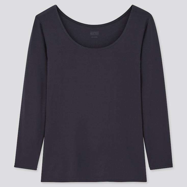 Women Heattech Scoop Neck Long-Sleeve T-Shirt, Navy, Large
