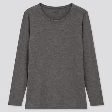 Women Heattech Crew Neck Long-Sleeve T-Shirt, Dark Gray, Medium