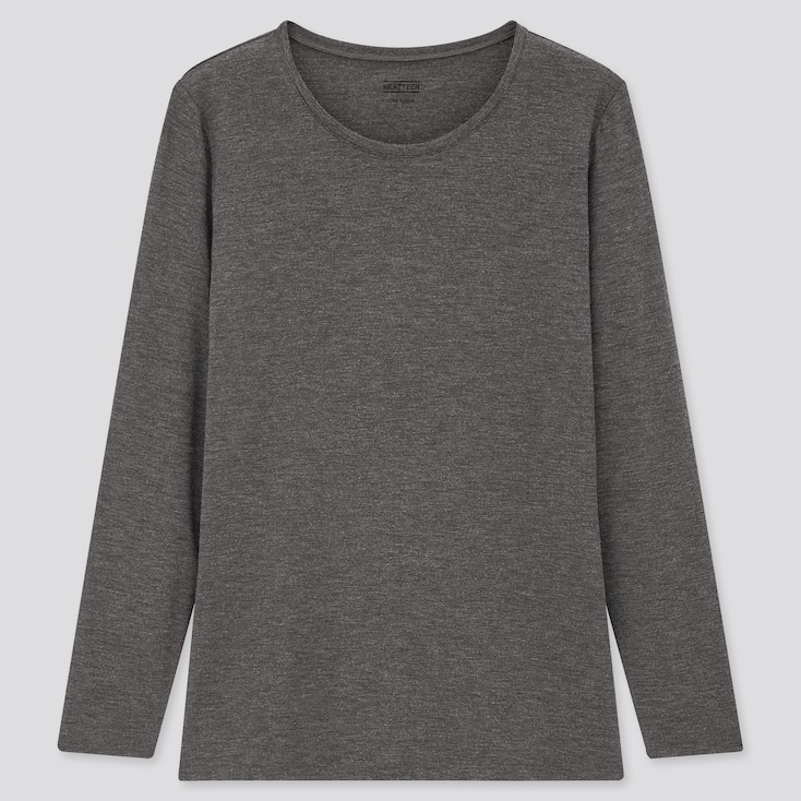 Women Heattech Crew Neck Long-Sleeve T-Shirt, Dark Gray, Large