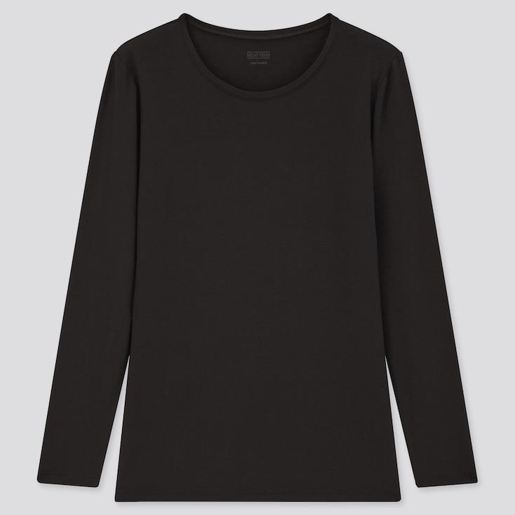 Women Heattech Crew Neck Long-Sleeve T-Shirt, Black, Large