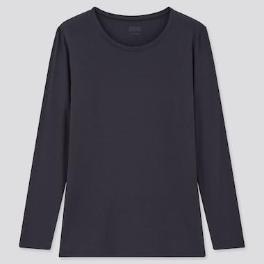 Women Heattech Crew Neck Long-Sleeve T-Shirt, Navy, Medium