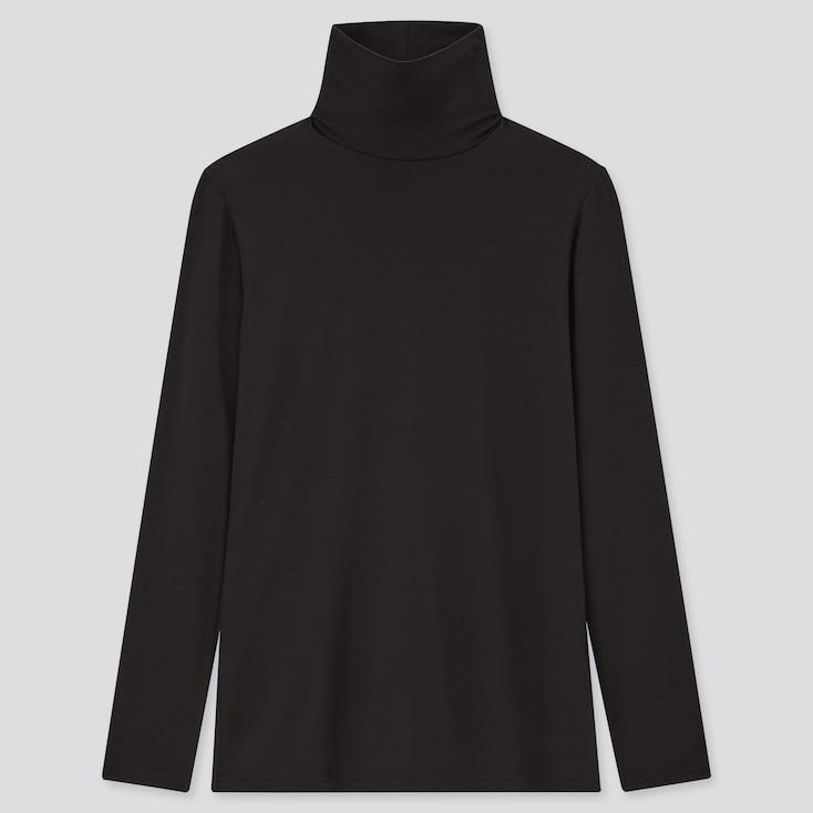 Women Heattech Turtleneck T-Shirt, Black, Large