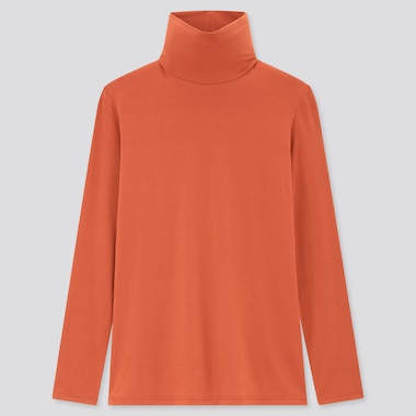 Women Heattech Turtleneck T-Shirt, Orange, Medium