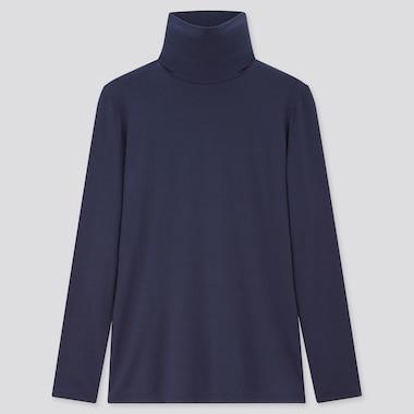 Women Heattech Turtleneck T-Shirt, Blue, Medium
