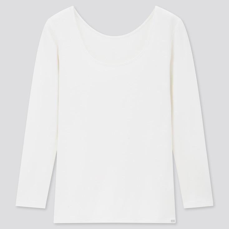 Women Heattech Extra Warm Scoop Neck T-Shirt, Off White, Large