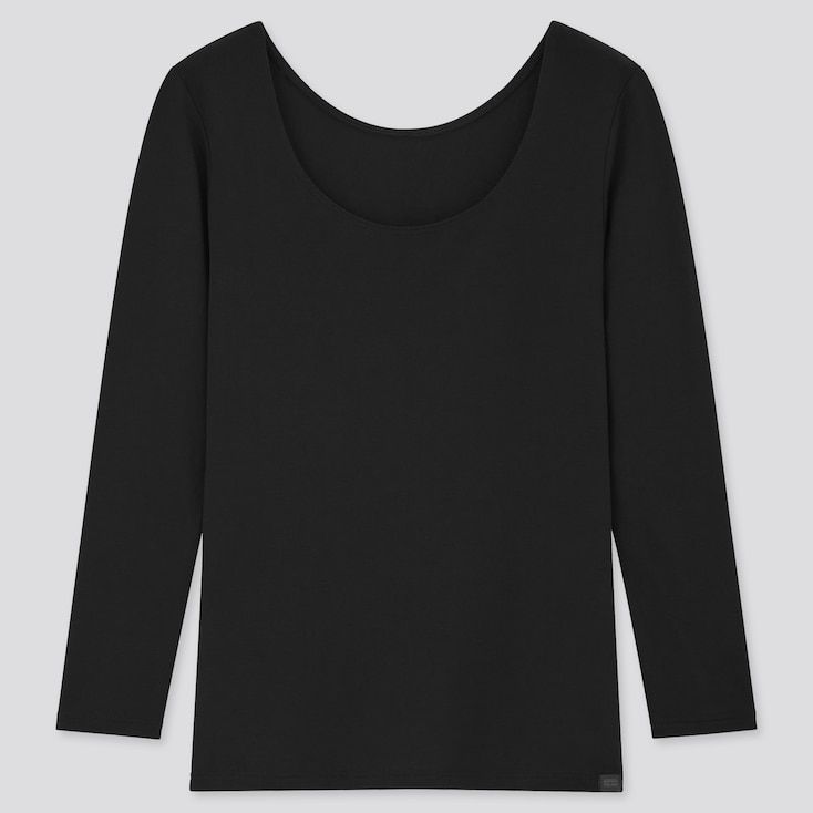 Women Heattech Extra Warm Scoop Neck T-Shirt, Black, Large