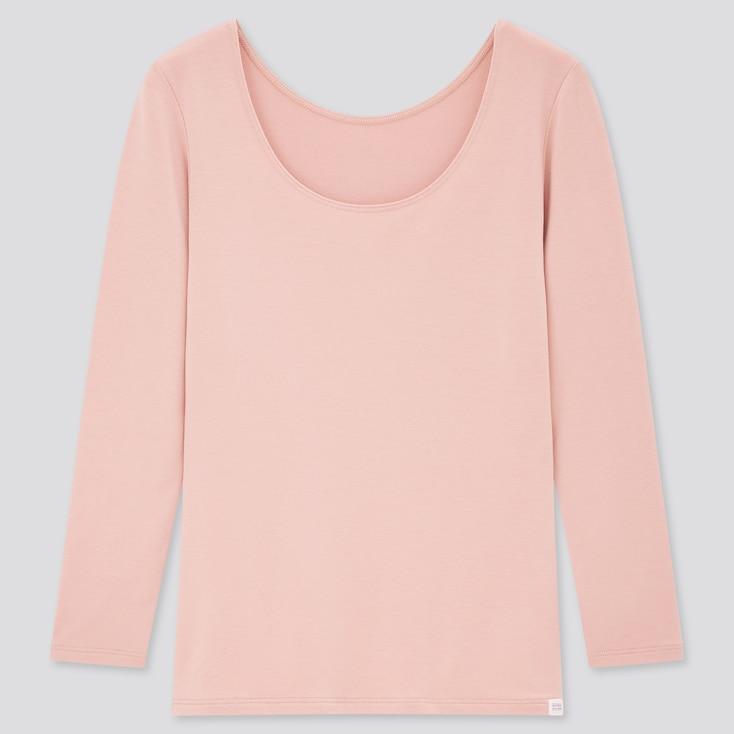 Women Heattech Extra Warm Scoop Neck T-Shirt, Pink, Large