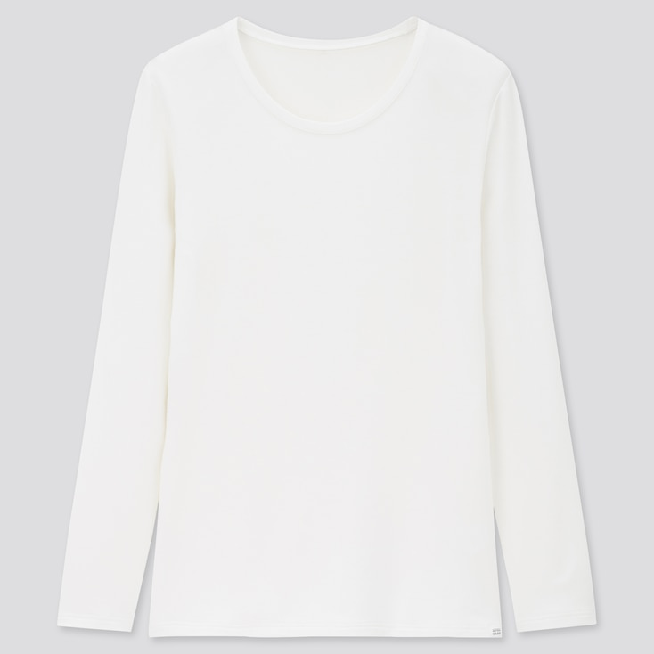 Women Heattech Extra Warm Crew Neck T-Shirt, Off White, Large