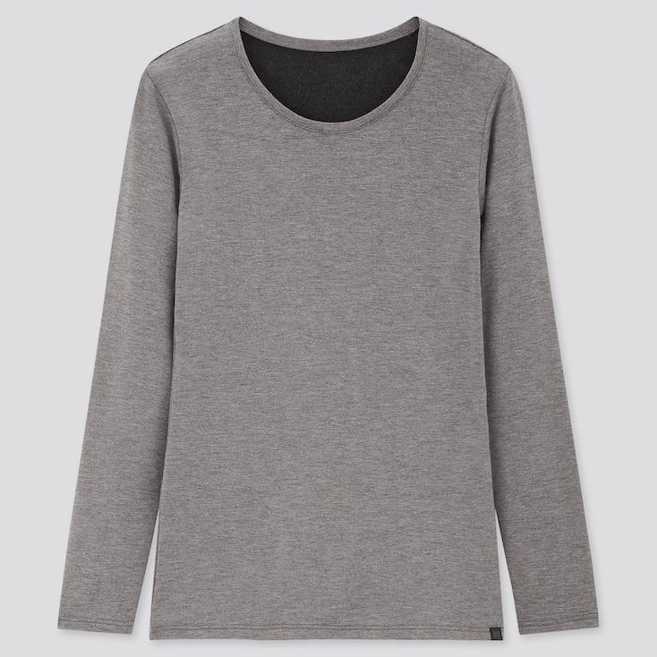 Women Heattech Extra Warm Crew Neck T-Shirt, Dark Gray, Large