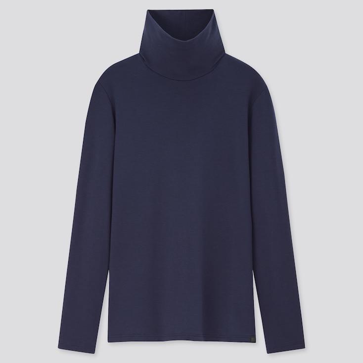 Women Heattech Extra Warm Turtleneck T-Shirt, Blue, Large