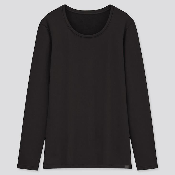 Women Heattech Ultra Warm Crew Neck T-Shirt, Black, Large
