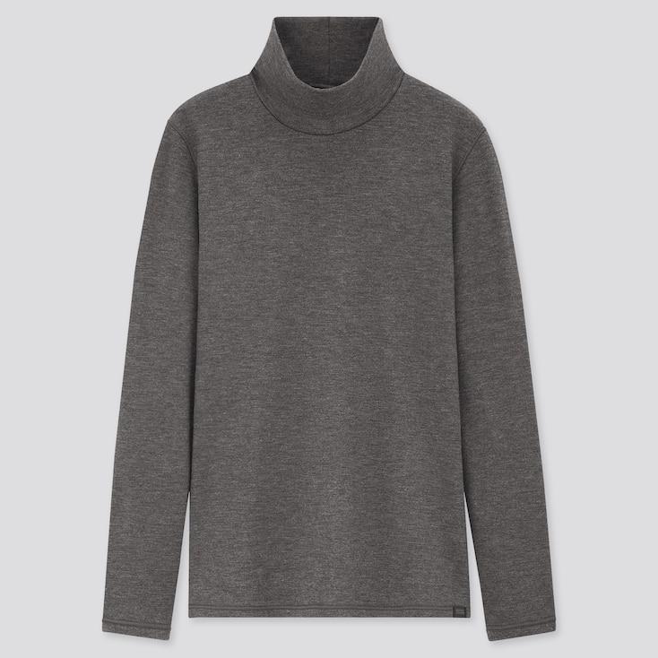 Women Heattech Ultra Warm High-Neck T-Shirt, Dark Gray, Large