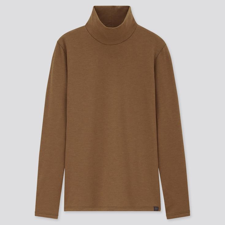 Women Heattech Ultra Warm High-Neck T-Shirt, Dark Brown, Large