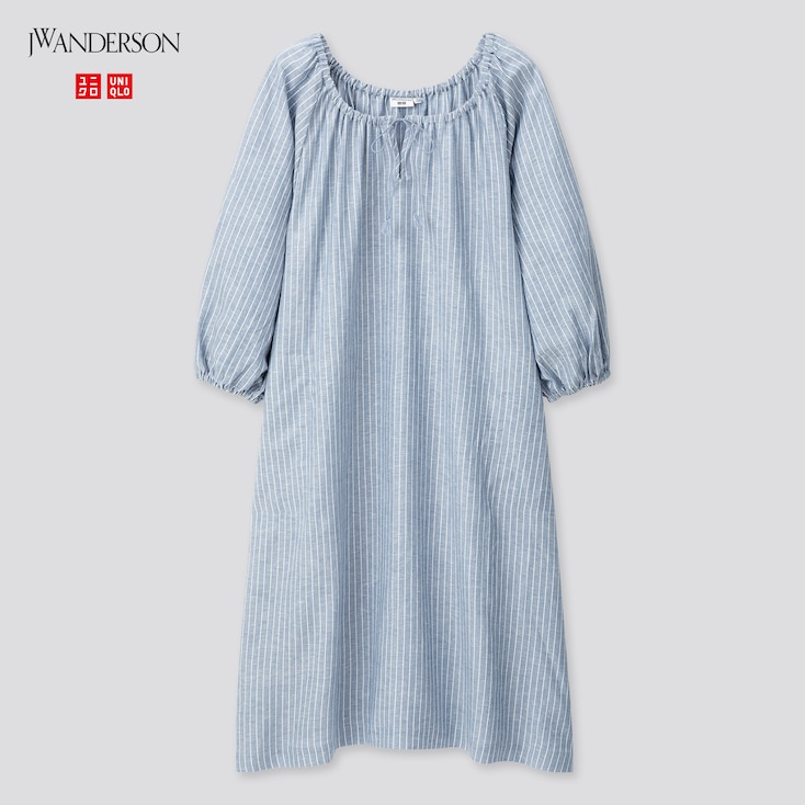 Women Linen Blend Striped Gathered 3/4 Sleeve Dress (Jw Anderson), Blue, Large