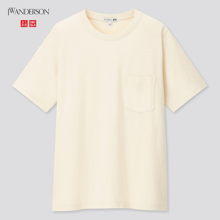 Women Linen Cotton Short-Sleeve T-Shirt (Jw Anderson), Off White, Large