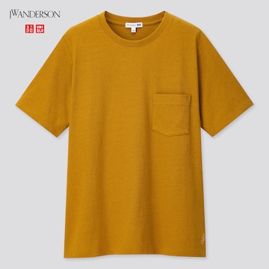 Women Linen Cotton Short-Sleeve T-Shirt (Jw Anderson), Khaki, Medium
