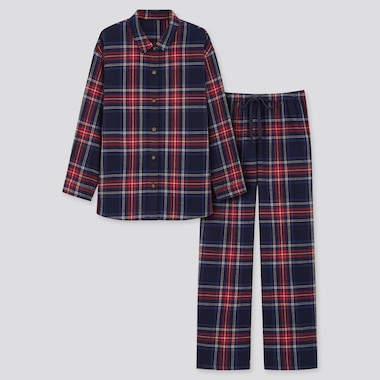 Women Flannel Long-Sleeve Pajamas, Navy, Medium