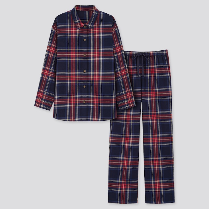 Women Flannel Long-Sleeve Pajamas, Navy, Large