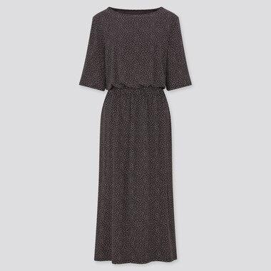 Women Drape Jersey Half-Sleeve Dress, Black, Medium