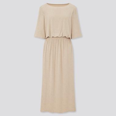 Women Drape Jersey Dotted Half Sleeved Dress