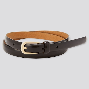 Women Gloss Leather Skinny Belt, Black, Medium
