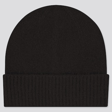 Cashmere Knitted Beanie, Black, Medium