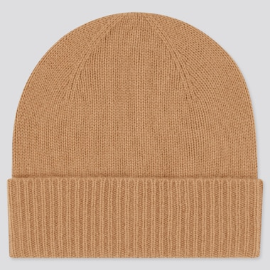 Cashmere Knitted Beanie, Beige, Medium