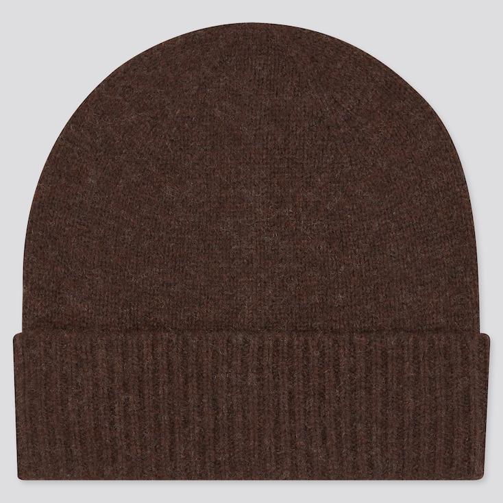 Cashmere Knitted Beanie, Dark Brown, Large