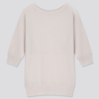 Women Light Sheer Boat Neck Half Sleeved Jumper