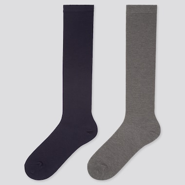 Women Heattech High Socks (2 Pairs) (Online Exclusive), Navy, Medium