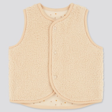 Newborn Fluffy Yarn Reversible Fleece Vest, Beige, Medium