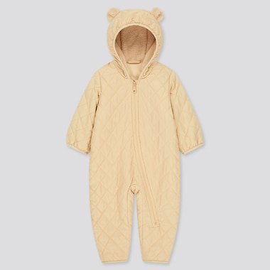 Newborn Warm Padded Long-Sleeve One-Piece Outfit (Online Exclusive), Beige, Medium