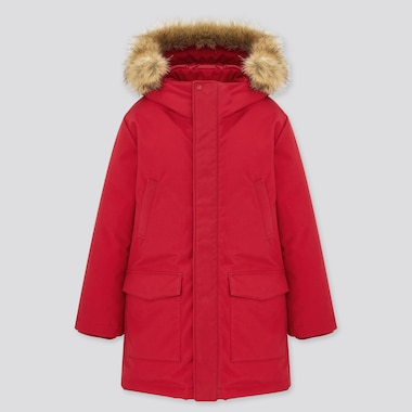 Kids Warm Padded Coat, Red, Medium