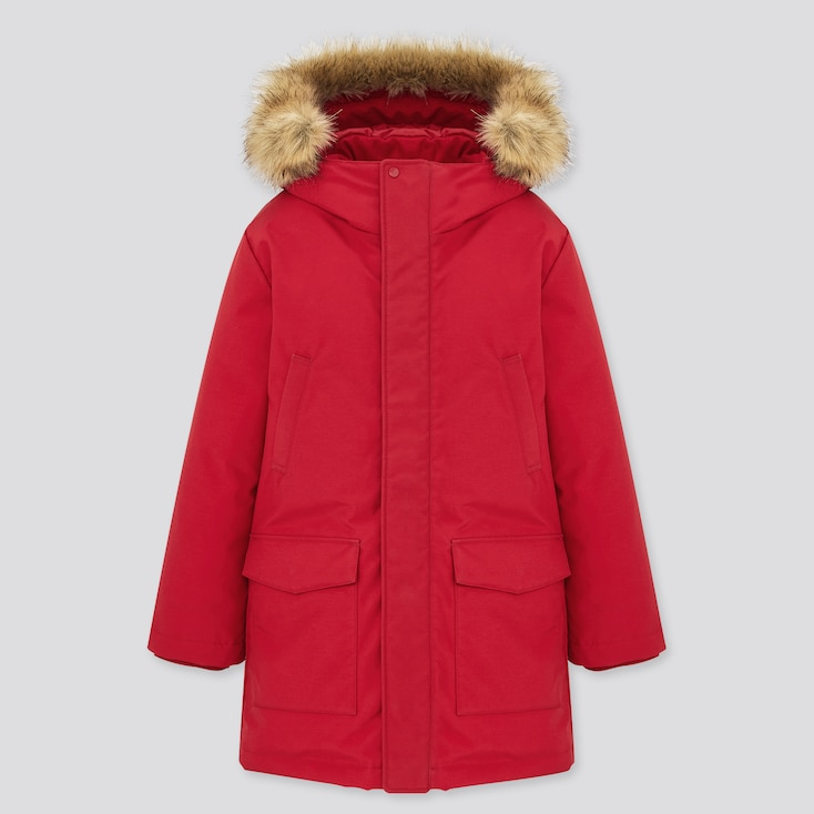 Kids Warm Padded Coat, Red, Large