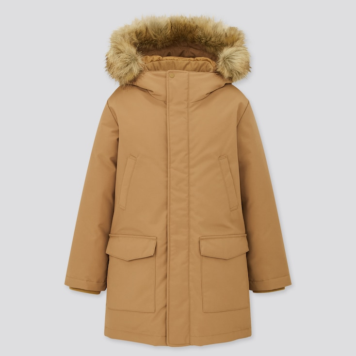 Kids Warm Padded Coat, Beige, Large