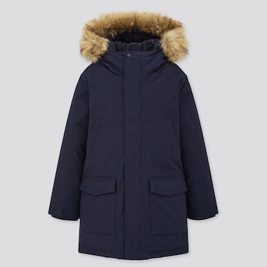 Kids Warm Padded Coat, Navy, Medium
